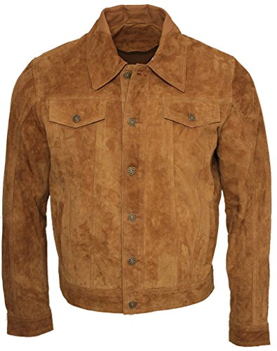 Men'S Trucker Casual Tan Goat Suede Leather Shirt Jeans Jacket M