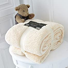 Adore Home Single Size Fleece Blanket Teddy Bear Throws for Sofa Bed Soft Warm 100x150cm, Cream