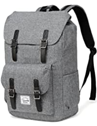 Backpack for Men,Vaschy Vintage Water Resistant Daypack Rucksack College School Backpack with Padded 15.6 inch Laptop Compartment (Charcoal Grey)