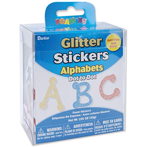 Darice Foamies Glitter Alphabet Sticker Bucket Dot to Dot Font 1.05 oz (12 Pack)]()