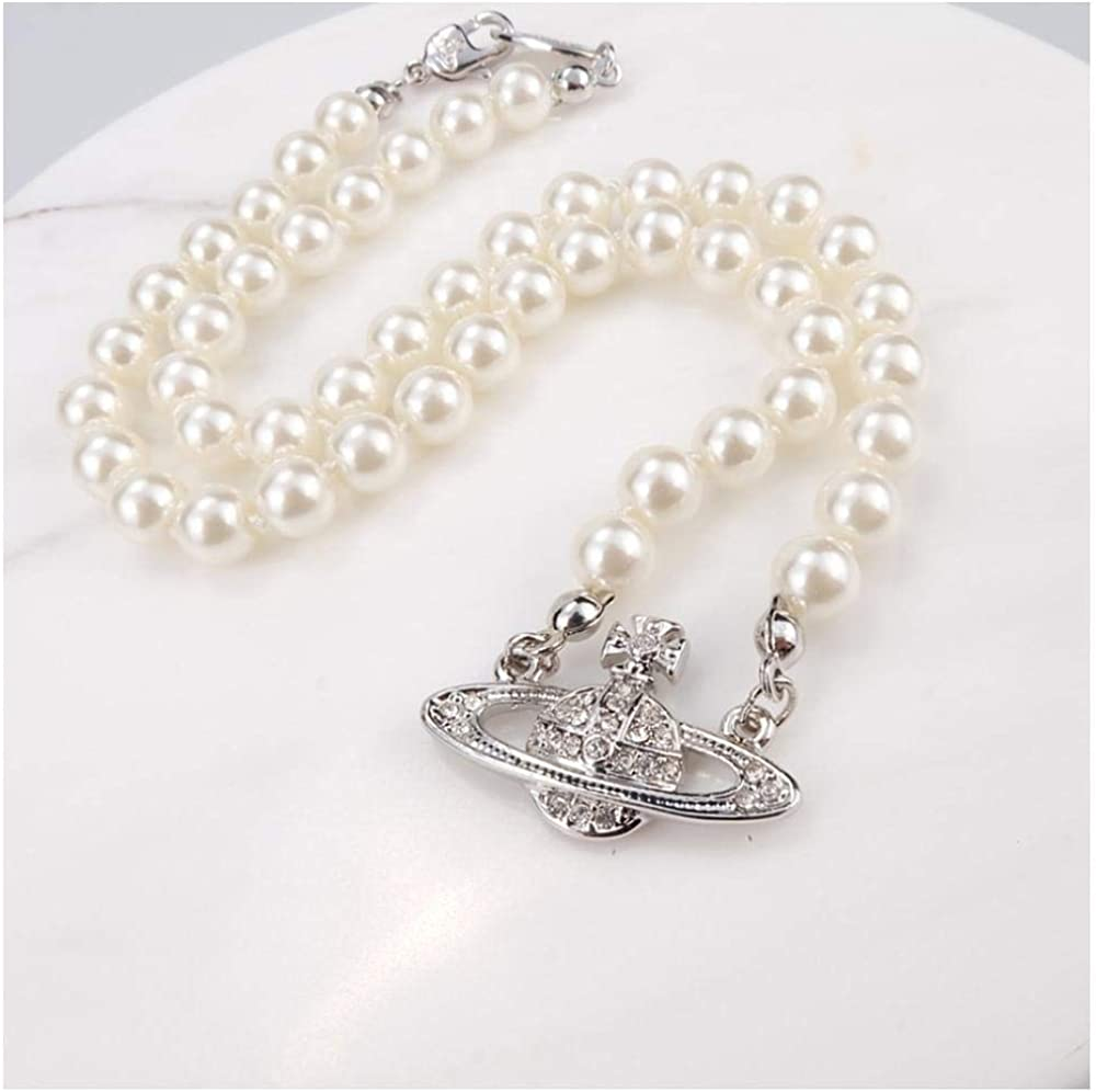 dal design classico collana con ciondolo a moschettone rock da donna Da uomo Hip Hop con logo collana di perle di Saturno retr/ò facile da abbinare