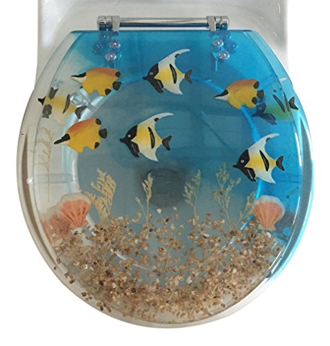 Daniel#039s Bath amp Beyond Polyresin Round Fish Aquarium Toilet Seat 17quot Blue