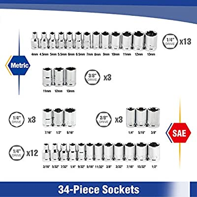 WORKPRO Socket Set, 1/4 Inch & 3/8 Inch Drive Sockets, 3/8-Inch Reversible Ratchet, Metric and SAE, 39-Piece: Home Improvement