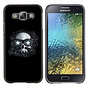 """For Samsung Galaxy E5 E500 , S-type Hipster Cráneo con los vidrios"""" - Arte & diseño plástico duro Fundas Cover Cubre Hard Case Cover"""