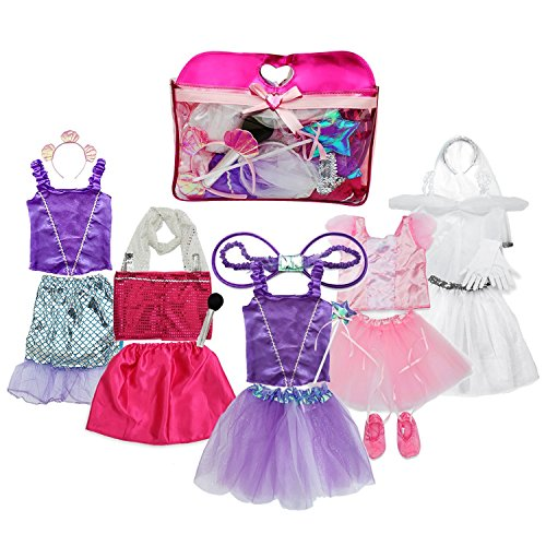 Toiijoy Girls Dress up Costume Set Princess,Fairy,Mermaid,Bride,Pop Star Costume for Little Girls Toddler Ages -