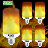 Sunco Lighting 4 Pack Flame Effect Bulb LED Light Bulb for Home Decoration, Holidays, Dorm, Indoor/Outdoor, Flickering Fire, Save Energy, Standard E26 Socket, Upward (Flame Mode)
