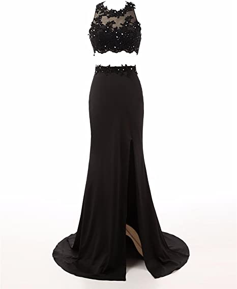 Changjie Womens Long Two Piece Black Lace Prom Evening Dresses Formal Gown