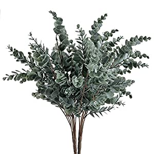 GTIDA 2PCS Fake Eucalyptus Branch Outdoor Artificial Greenery Plants Faux Plastic Shrubs Home Office Table Centerpieces Arrangements Garden Patio Yard Decor 17