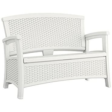Suncast Elements Wicker Design Loveseat with Storage, White (BMWB5000W)