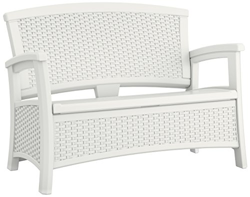 - Suncast Elements Loveseat with Storage - Lightweight, Resin, All-Weather Outdoor Loveseat Chair - Wicker Patio Decor with Built in Storage Capacity up to 23 Gallons - White