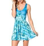LoveLiness Women Blue Dragon Print Knee-length Pleated Skater Dress