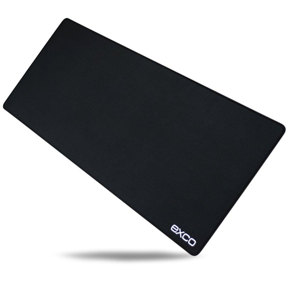 Cucita elegante nero Pad -- Exco grande nero tappetino per il mouse Gaming Mouse pad, base in gomma antiscivolo superficie liscia Mousepad excolife MSP008