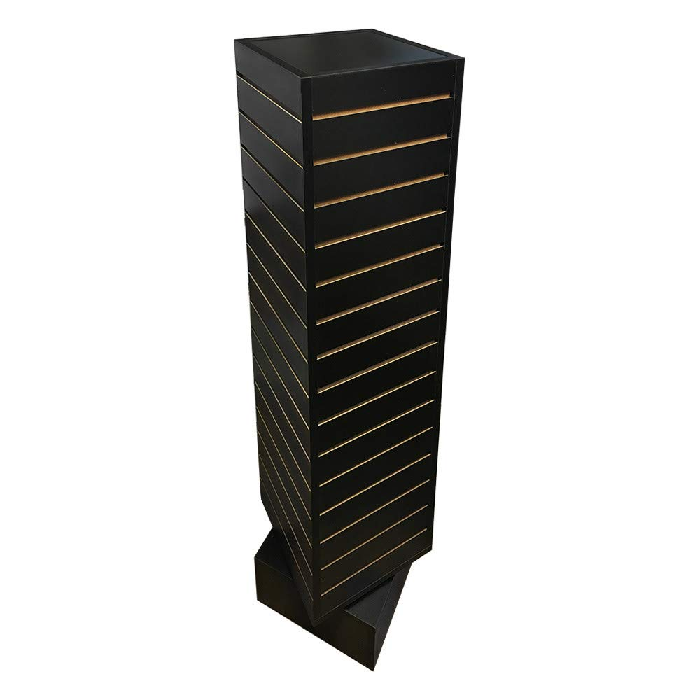 PROLINEMAX Black 12'' x 12'' x 54'' Revolving Slatwall Floor Display Rotating 4 Sided Retail Fixture