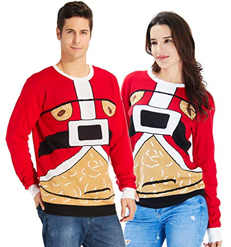 1970s Mens Sweater (RAISEVERN Women's Ugly Christmas Sweater Funny Santa Claus Waist Belt Knitted Crewneck Xmas Sweater Red Pullover)