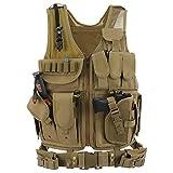 Barbarians Tactical Molle Vest Military Airsoft Paintball Vest Assault Swat Vest Adjustable Lightweight(Tan)