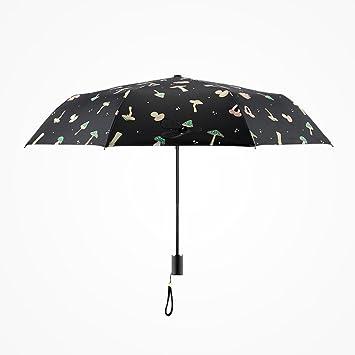 pllp Paraguas plegable femenino pequeño de la seta fresca, paraguas ULTRAVIOLETA transparente del cero del