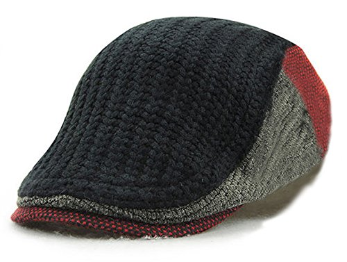 YCHY Men's Knitted Wool duckbill Hat Warm Newsboy Flat Scally Cap