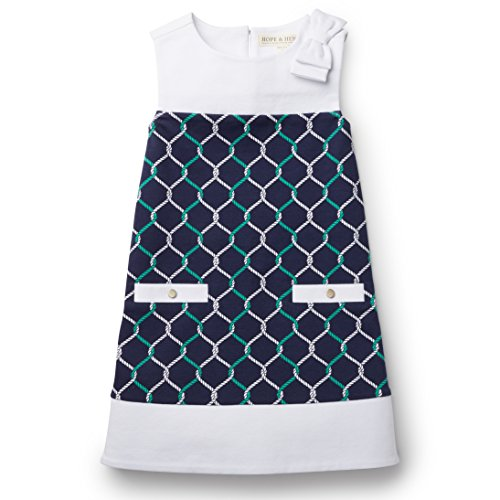 (Hope and Henry Girls Navy A-line Ponte Knit Dress)