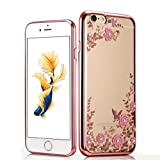 iPhone 6S Plus Case, GOTD® [Tough Armor] HEAVY DUTY EXTREME Protection Rugged Slim Protective Case for iPhone 6S+ Plus, Crystal TPU Cover Bling Diamond and Flower Flip Cover Case (Rose Gold)