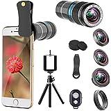 iPhone Camera Lens, 12x Telephoto Lens + 0.65x Wide Angle & Macro Lenses + 180° Fisheye Lens + Star Filter Lens, Clip-On lenses for iphone 8 7 6s 6 plus, Samsung Smartphones & Tablet