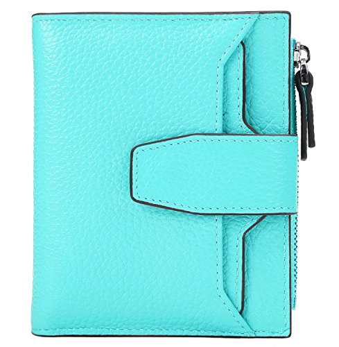 AINIMOER Women's RFID Blocking Leather Small Compact Bi-fold Zipper Pocket Wallet Card Case Purse(Lichee Sea Blue) by AINIMOER