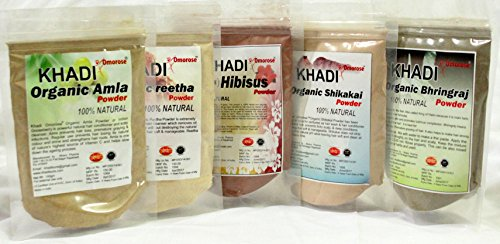 Khadi Amla Reetha Shikakai Bhringraj Hibiscus Powder ( Pack of 5) (Shikakai Amla Powder)
