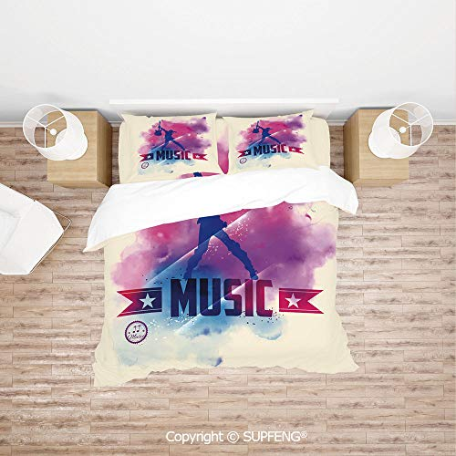 SCOXIXI 3D Bedding Sets Rock Star with Guitar Inside Watercolor Cloud with Music Quote Print (Comforter Not Included) Soft, Breathable, Hypoallergenic, Fade Resistant