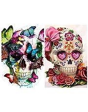 KOTWDQ 2 Pack 5d Diamond Painting Kits for Adults Kids Skulls Full Drill Diamond for Home Wall Decor