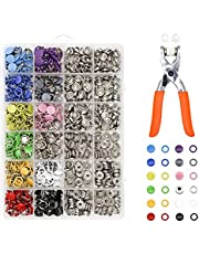 Lesnala 240 Sets 9.5mm Metal Snaps Buttons with Fastener Pliers Press Kit Tool 12 Colors, Metal Press Studs for Leather Rivets Children's Bodysuit, Romper, Apron, Clothing, Bib, Sewing and Crafting