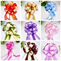 "12 PCS 7"" Large Pull Bows Christmas Gift Knot with Ribbon Strings to Wrap the Box or Floral Decoration,Pack of 12 in Diferent Colors"
