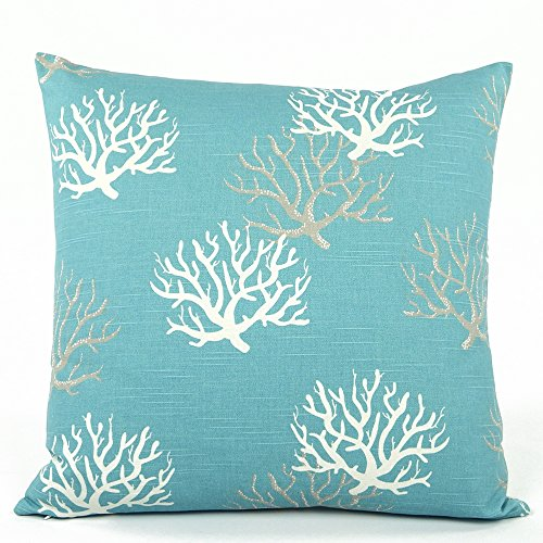 """Chloe & Olive Wonders of the Seas Turquoise Collection - Reversible Ocean Coral / Star Fish 20"""" Square Decorative Toss Pillow with Insert - Turquoise Blue, White and Grey - 1 Pillow with Feather/down Insert"""