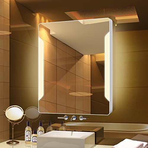 Stamo Vanity Bathroom Silvered Anti-Fog Mirror LED Lighted with Touch Button Vertical Bathroom Vanity Lighted, dimmable Lighting Mirror by Stamo (Image #7)