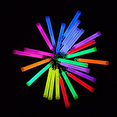 """Glow Sticks Bulk 25 Count – Industrial Grade, Ultra Bright Glow In The Dark Light Sticks - Box of 6"""" Premium Glow Party Supplies in Assorted Colors from PartySticks"""