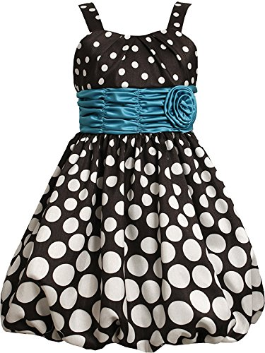 Shantung Bubble (Bonnie Jean Little Girls Black White Gradient Dot Shantung Bubble Dress (5, Black/White))