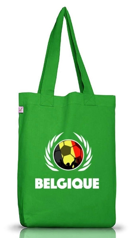 ShirtStreet Belgium Belgique Fussball WM Fanfest Gruppen Jutebeutel Stoffbeutel Earth Positive Fußball Belgien, Größe: onesize,Kelly Green