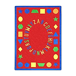 Joy Carpets Kid Essentials Early Childhood First Lessons Rug, Red, 3\'10\
