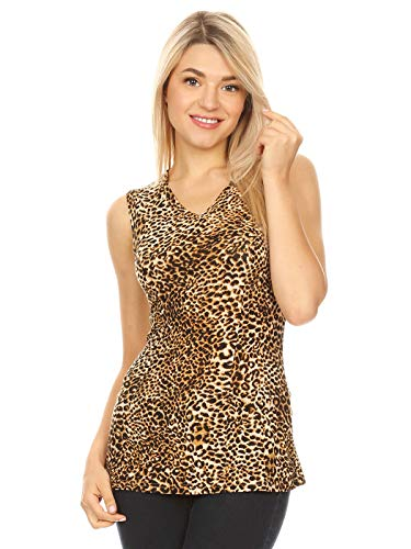 Anna-Kaci Womens Fitted Sexy V Neck Leopard Print Sleeveless Vest Basic Tank Top, Brown, Large