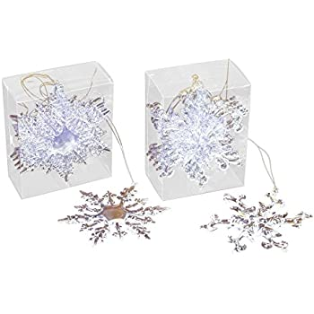 Gerson Set OF 12 Clear OF Snowflake Ornaments