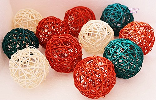 Christmas Gifts : Medium White, Green, Orange Rattan Ball, Wicker Balls, DIY Vase And Bowl Filler Ornament, Decorative spheres balls, Perfect For Decoration And Party 3-3.5 inch, 12 Pcs.