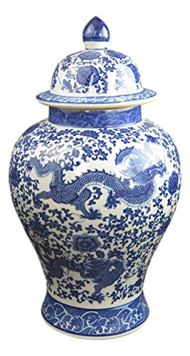 """Festcool 20"""" Classic Blue and White Porcelain Dragon Temple Ceramic Ginger Jar Vase, China Ming Style"""