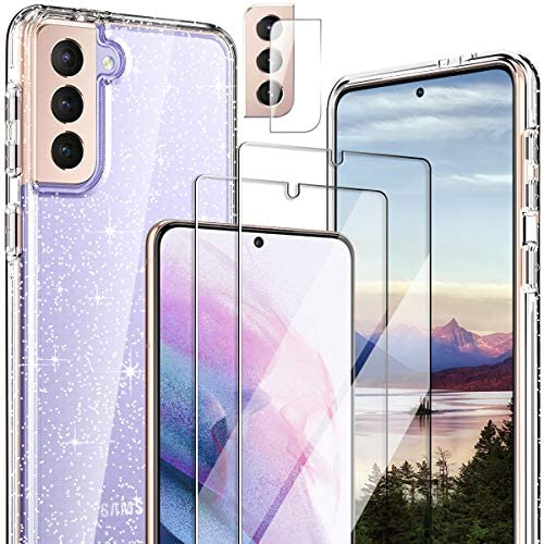 """Hocase for Galaxy S21 Case, (with 2 Screen Protectors + 1 Camera Protector) Shockproof Soft TPU+Hard Plastic Full Body Protective Case for Samsung Galaxy S21 5G (6.2"""" Display) 2021 - Clear/Glitter"""