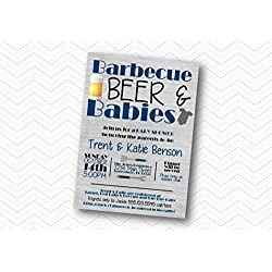 BBQ, Beer & Babies Baby Shower Invitation