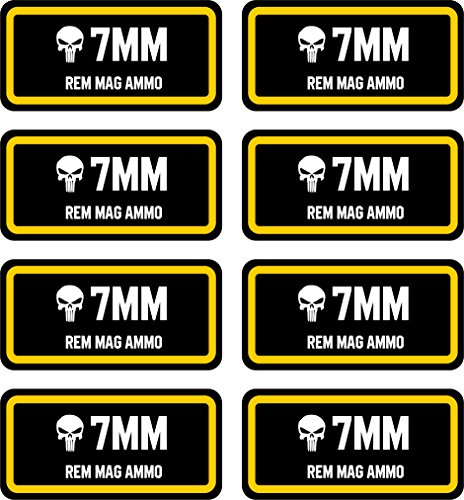 (Linni's Vinyl Banners 7 mm Rem Mag Ammo Can Stickers | Punisher | 8-Pack Ammo Can Decals Bullet Sticker 3 x 1 | 100% PVC - Waterproof, Non-Fade, UV Resistant)