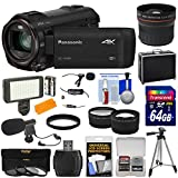 Panasonic HC-VX981 Wi-Fi 4K Ultra HD Video Camera Camcorder with 64GB + Case + Tripod + LED Light + 2 Mics + Filters + Fisheye, Tele/Wide Lenses Kit