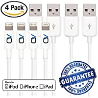 [Apple MFi Certified] iPhone Cord Lightning Cable Charging Connector by OnyxVolt - iPhone 6 & 7 Cable - Fast Syncing Speeds to iPhone 6/7 iPad(Compatible with iOS10) (4 Pack)