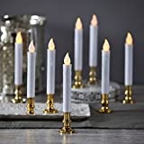 Set of 8 Flameless Plastic White Taper Candles with Gold Removable Candleholders and Remote, Batteries Included