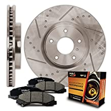 Rear Premium Slotted & Drilled Rotors and Ceramic Pads Brake Kit KT071432 | Fits: 2009 09 2010 10 2011 11 2012 12 Dodge Journey w/302mm Front Rotor and 305mm Rear Rotor; Manufactured To 3/6/2012