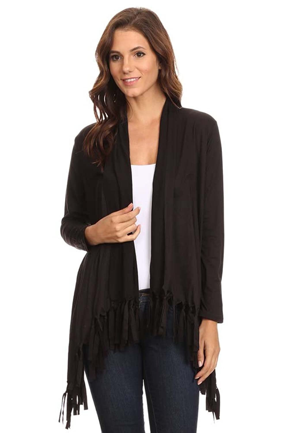 BLVD Women's Asymmetric Hem Loose Fit tyle Open Front Caridgan with Fringes