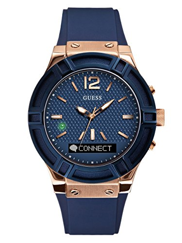 GUESS Men's CONNECT Smartwatch with Amazon Alexa and Silicone Strap Buckle - iOS and Android Compatible -  Blue by GUESS