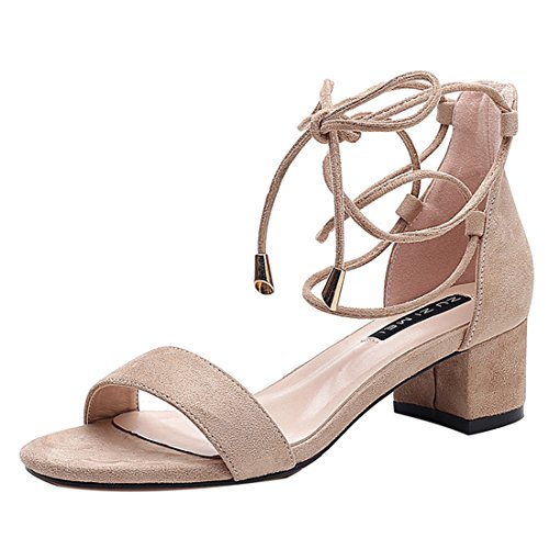 Mid Lace Enerhu Dress Heels Shoes Heeled Women Heel Chunky apricot Open up Ankle Sandals Toe Suede Strappy Strap C5rUzq5Pwf